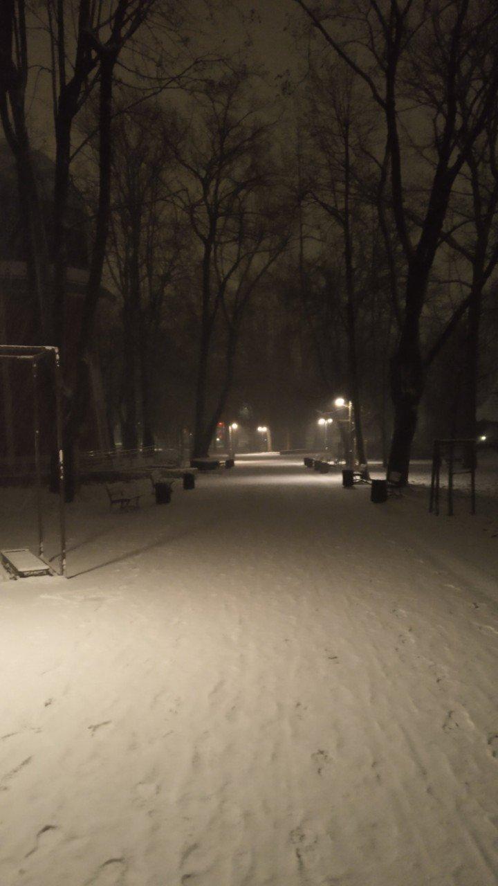 park pod jasną górą zimą